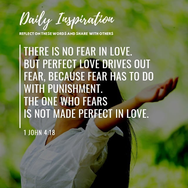 There is no fear in love.  But perfect love drives out fear, because fear has to…