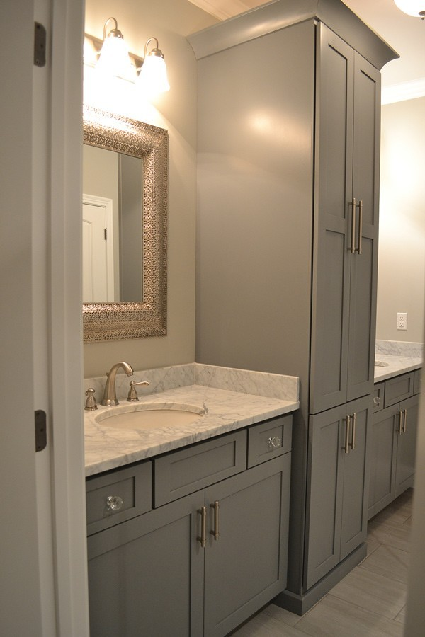 master bath gray cabinetry