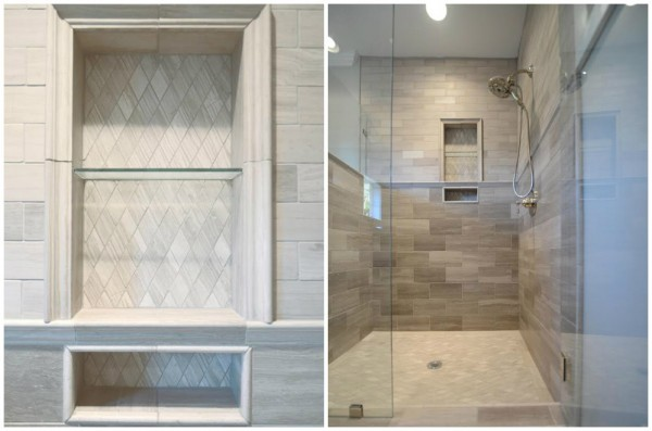 Shower with Shelves & Spaces