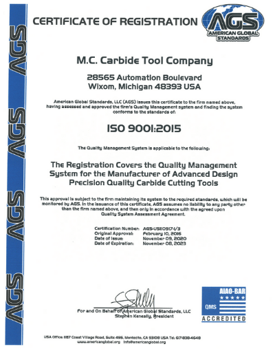 M.C. Carbide Tool ISO 9001 Certification