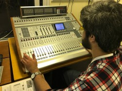 Hassaan on the mixing desk.