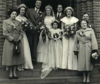 June Mercer and Dave McClelland's Wedding. Stan and Pansy are on the right.