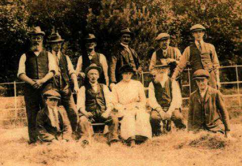 Workers at Shotwick House. Eric Mercer (Tricky) is the boy in front, bottom left.