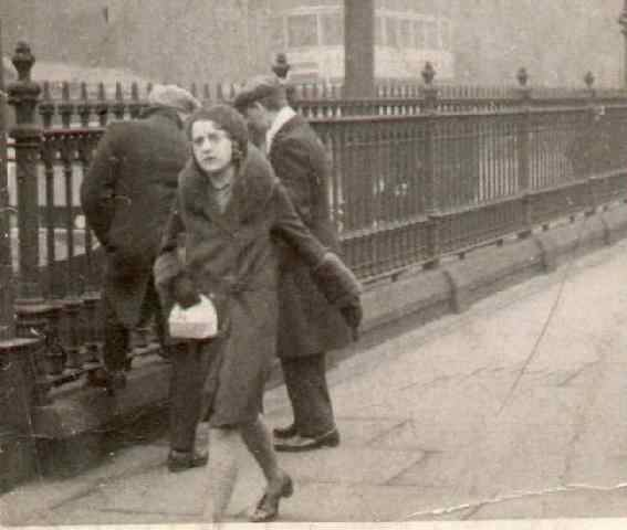 A young Pam Pearce. This would appear to be a street in Sheffield. Note the tram in the background.
