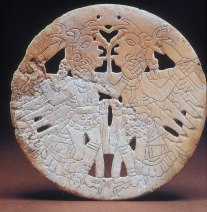 Shell Gorget (pendant) with Eagle Dancers Motif, Late Mississippian period, ca. AD 1450. Diameter 4.5 in.