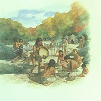 ca. 5000 BC. Life-size mural by Greg Harlin