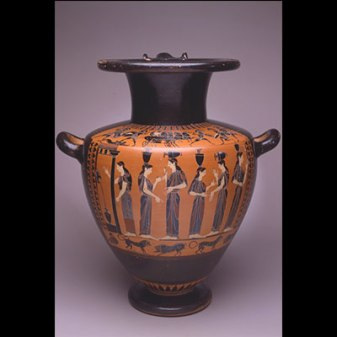 Terracotta Black-Figure Hydria (water jar), Attic, ca. 520–510 BC, Image: Women collecting water at a fountain, Ht. 17 3/4 in.