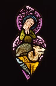 St. Margaret Stained Glass, 14th century, Loyola Museum of Art, Martin D'Arcy, S.J. Collection, 77.10.