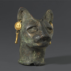 Cat's Head, 30 B.C.E. to third century C.E., Bronze, gold, Brooklyn Museum, Charles Edwin Wilbour Fund, 36.114.