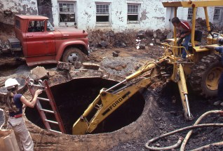 Unearthing a large cistern at the old City Hall in downtown Knoxville.