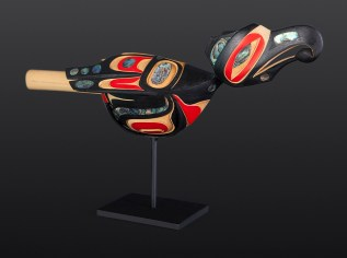 Dragonfly Rattle, 2013, Moy Sutherland (Nuu-chah-nulth), Yellow cedar, abalone, paint, custom stand, Courtesy of Steinbrueck Native Gallery.