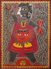 Baua Devi, Shiva, 2008, Acrylic on canvas, Courtesy of BINDU Modern Gallery, Photo credit: Sneha Ganguly.