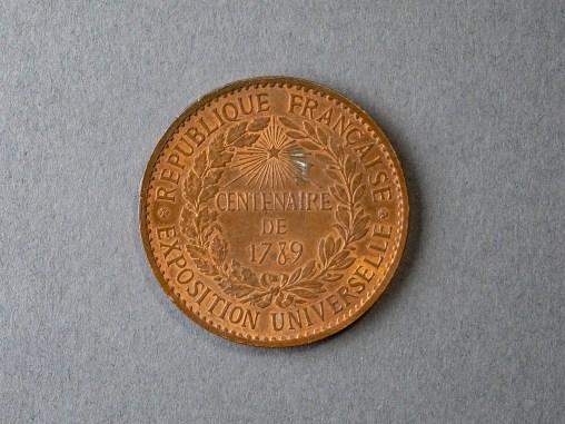 Commemorative medal (back), 1889, Albert-Désiré Barre (French, 1818-1878), Bronze, Louis B. and Eleanor Deane Swan Audigier, 1934.1.708.