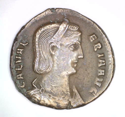 Roman Imperial Coin of Galeria, 305-311 CE, Bronze, Gift of Arthur G. and Roswitha Haas, 2015.7.108.