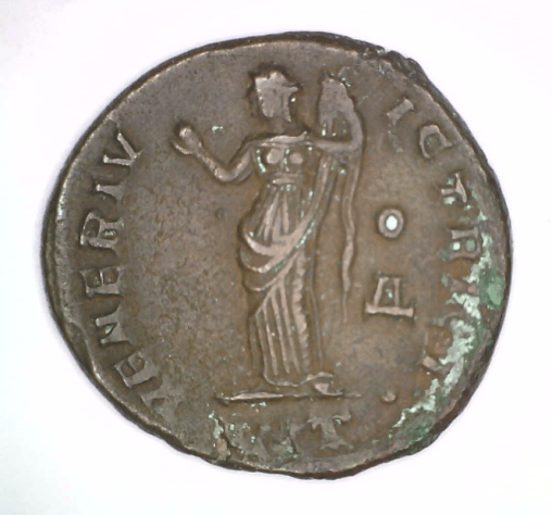 Roman Imperial Coin of Galeria Valeria (reverse image of Venus), 305-311 CE, Bronze, Gift of Arthur G. and Roswitha Haas, 2015.7.108.