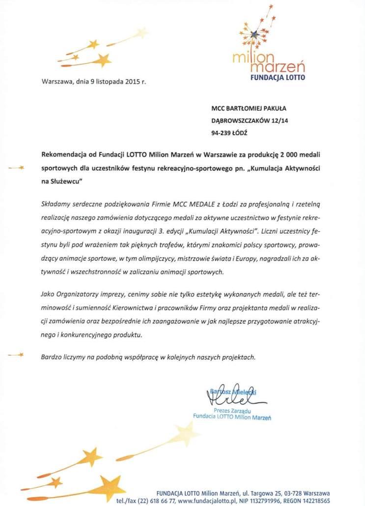 Referencje Fundacji Lotto Milion Marzeń dla MCC Medale