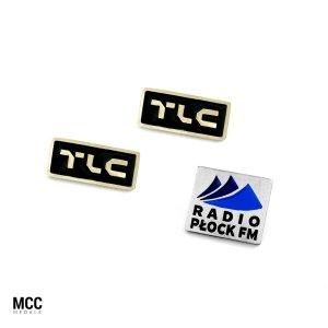 Pinsy z logo emaliowanym