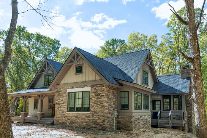 One story stone and siding cottage