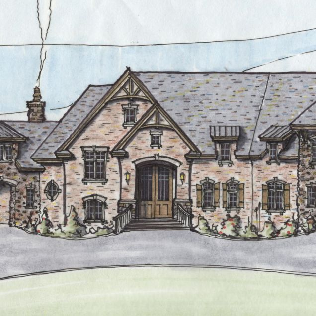 Hand drawn rendering of front of custom home