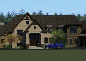 Computer rendering of front of house with large wood door