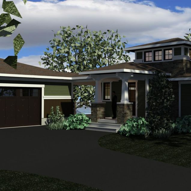 Color computer rendering of prairie style home looking up driveway.