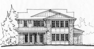 Line art sketch of front elevation