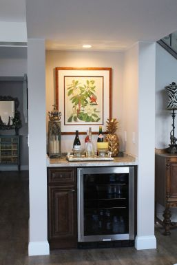 Small counter area with wine cooler below