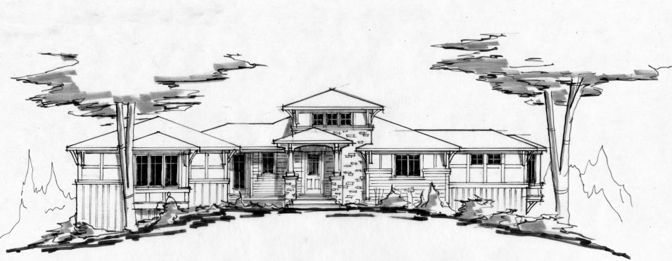Line Art hand drawing of front of home