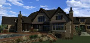 Color computer rendering of rear of home with pool