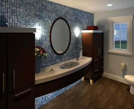 Contemporary bathroom with blue tile