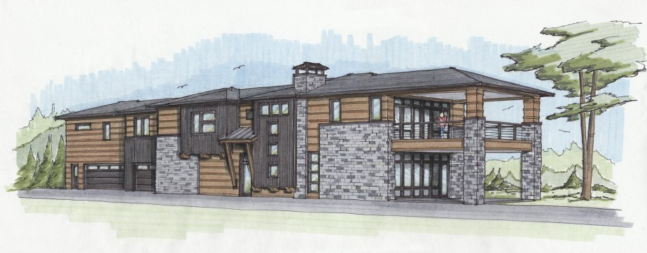 Color hand sketch of custom home design