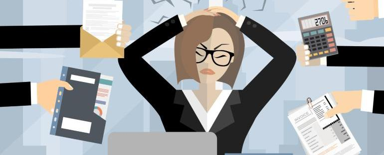 cartoon of woman stressed at work