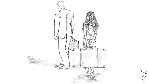 sketch of man traveling for business with sad looking woman left holding luggage behind