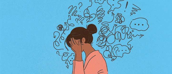 cartoon of a black woman struggling to cope with anxiety thoughts