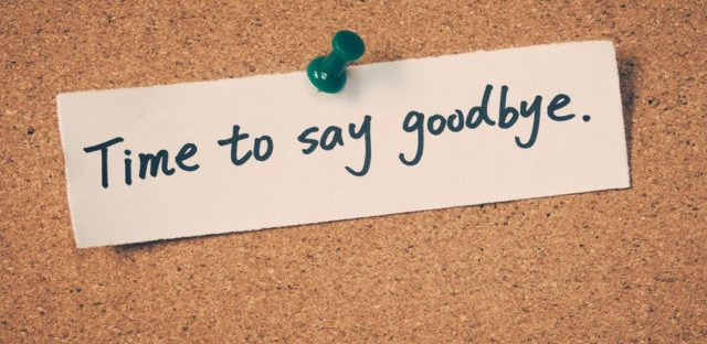 "cork board with push pin note saying ""time to say goodbye"""