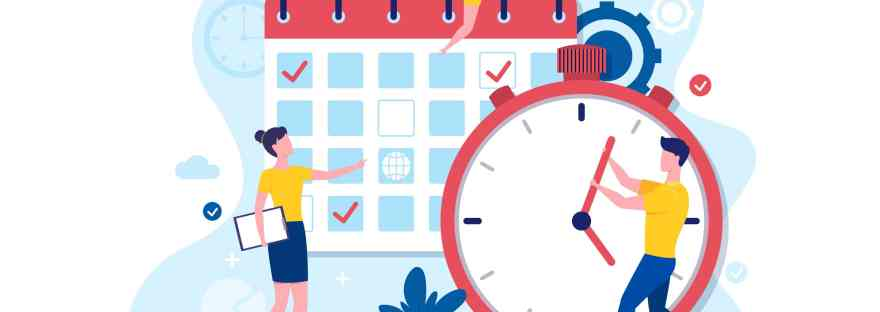 Cartoon with a calendar and clock