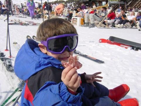 McCrae on the mountain eating salami