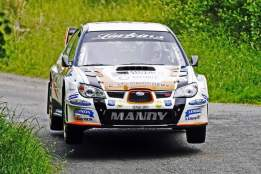 Manus Kelly and Donall Barrett on Their Way to winning the 2016 Joule Donegal International Rally.