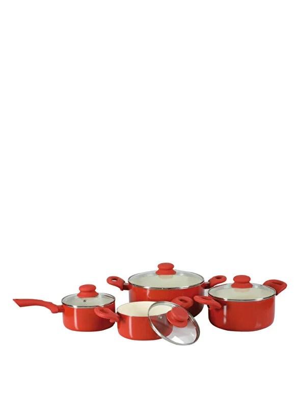 Ambition - Set de oale cu invelis cermaic Ambition, 34235, 8 Piese, Fusion Fresh Red, Rosu - Rosu