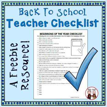 FREE Back to School Checklist for Intermediate Grades 3-5
