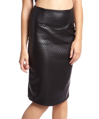 Black Quilted Faux Leather Pencil Skirt