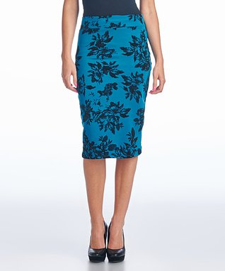 Teal Floral Pencil Skirt