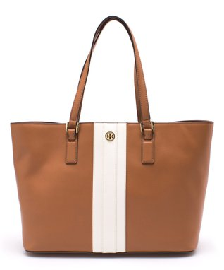 Bark Stripe Robinson East-West Leather Tote