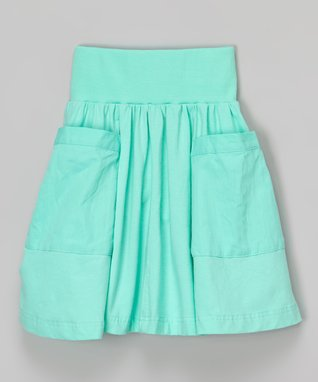 Lucite Green Ribbed Pocket Skirt - Toddler & Girls