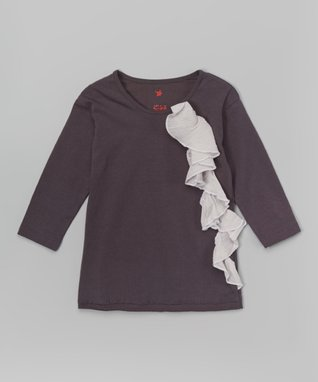 Dark Gray Ruffle Long-Sleeve Tee - Girls