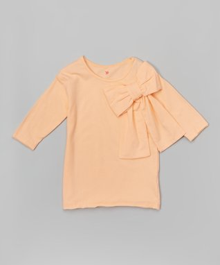 Pale Peach Bow Long-Sleeve Tee - Girls
