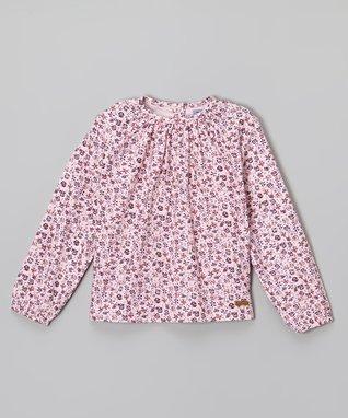 Hot Pink Floral Smocked Neck Top - Girls