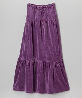 Purple Velvet Maxi Skirt - Girls
