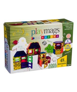 48-Piece PlayMags Magnetic Building Block Set