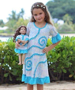 White Melange & Turquoise Emily Dress & Doll Outfit - Kids